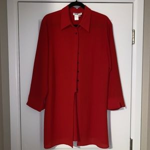 Coldwater Creek Red Long Blouse Size L